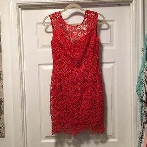 Red lace mini dress - worn once!!